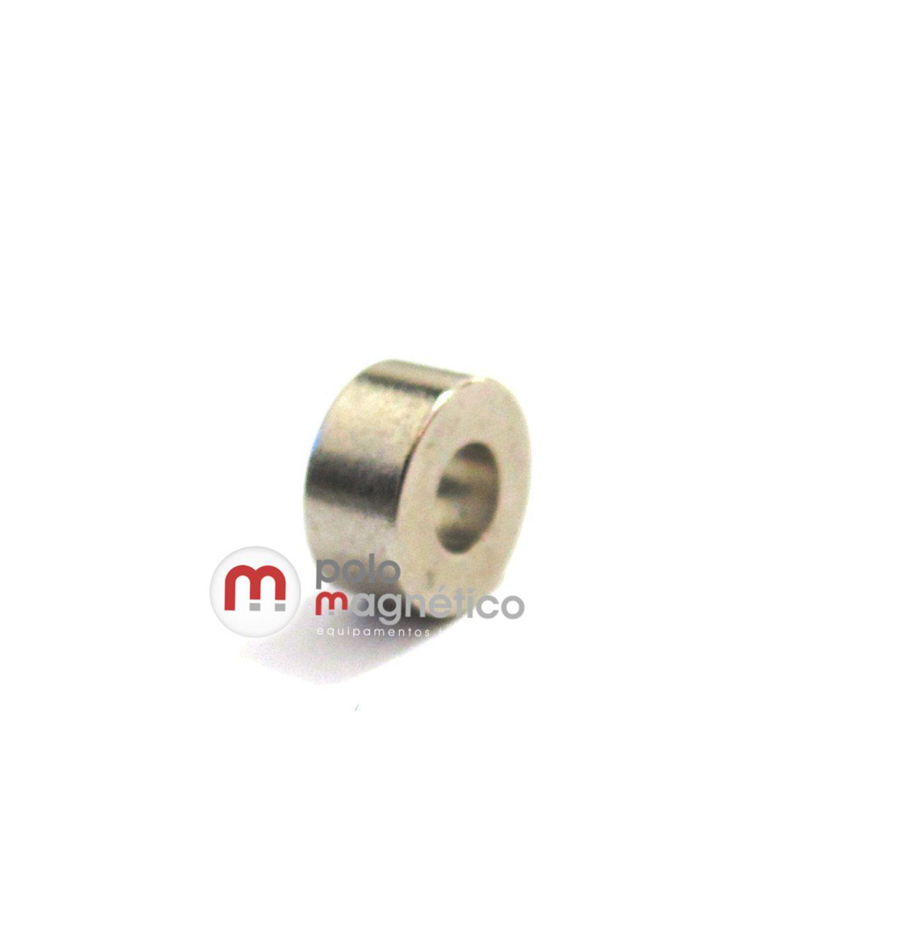 Ímã de Neodímio Anel N35 6x2,6x3 mm  - Polo Magnético
