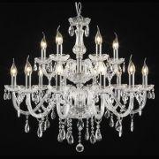 Lustre em Cristal para 15 Lâmpadas + Luz - LU-016/15.80