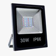 Refletor LED RGB 30W SMD - Slim C/ Controle Remoto
