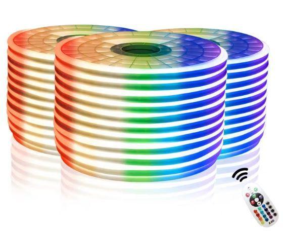 Fita Led Neon RGB - 220v - 5 a 9 Metros - C/ controle Remoto Sem Fio