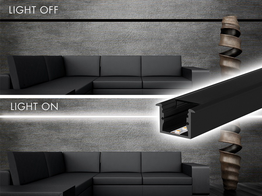 Perfil LED ALL Black Embutir 24mm - 10w por Metro - *Pronto para instalar