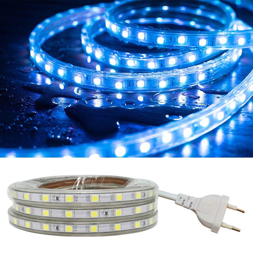 Fita LED 220v - 5050 - Azul - 5 Metros - NÃO NECESSITA DE FONTE