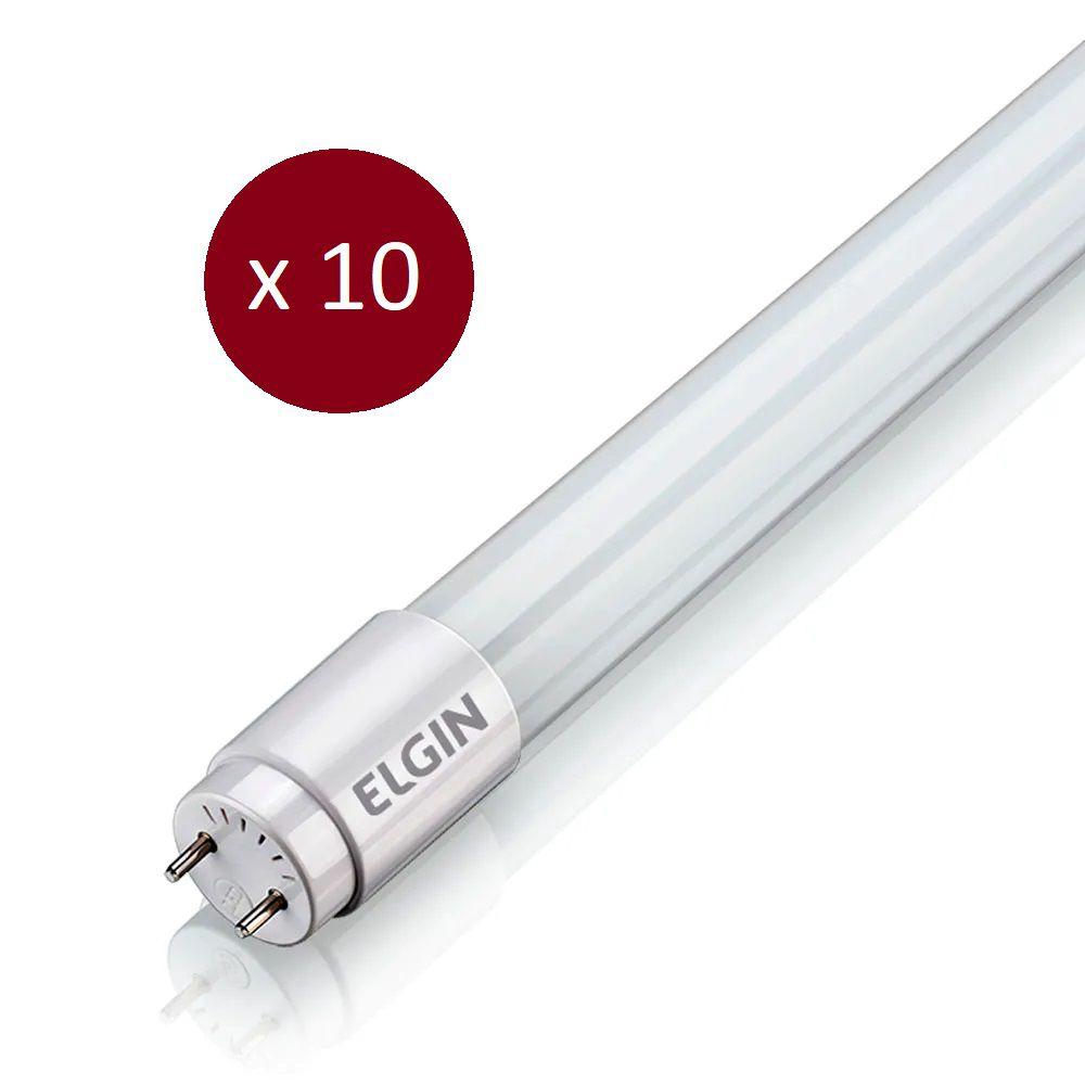Kit Lâmpada LED Tubular T8 - 18W - 6500K - 10 Peças
