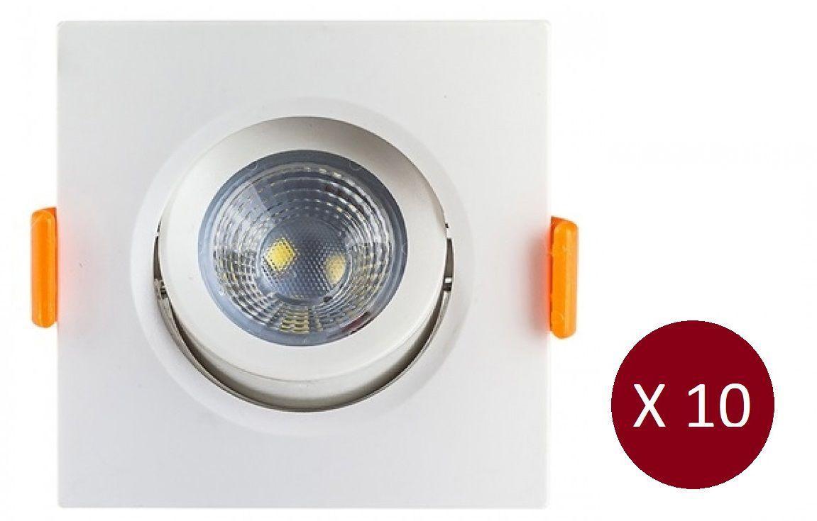 Kit Luminária Spot Led Quadrado 3W - 10 Peças