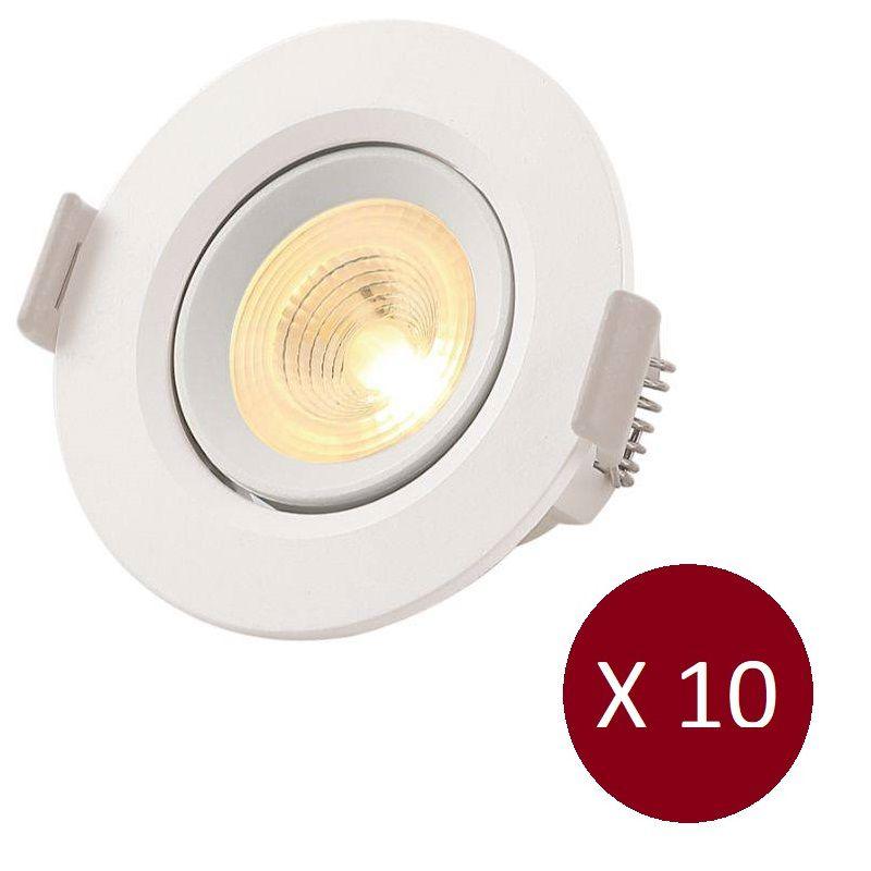Kit Luminária Spot LED Redondo Embutir Direcionável - 5W - 10 Peças