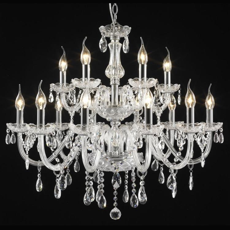 Lustre em Cristal para 15 Lâmpadas + Luz - LU-016/15.80  - 9led