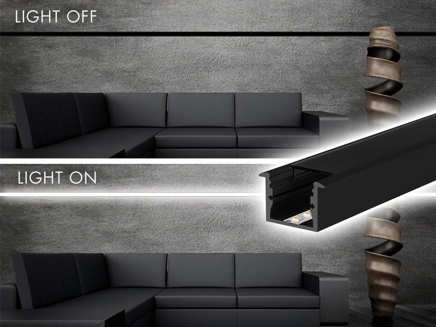Perfil Embutir 24mm Para Fita LED - ALL BLACK