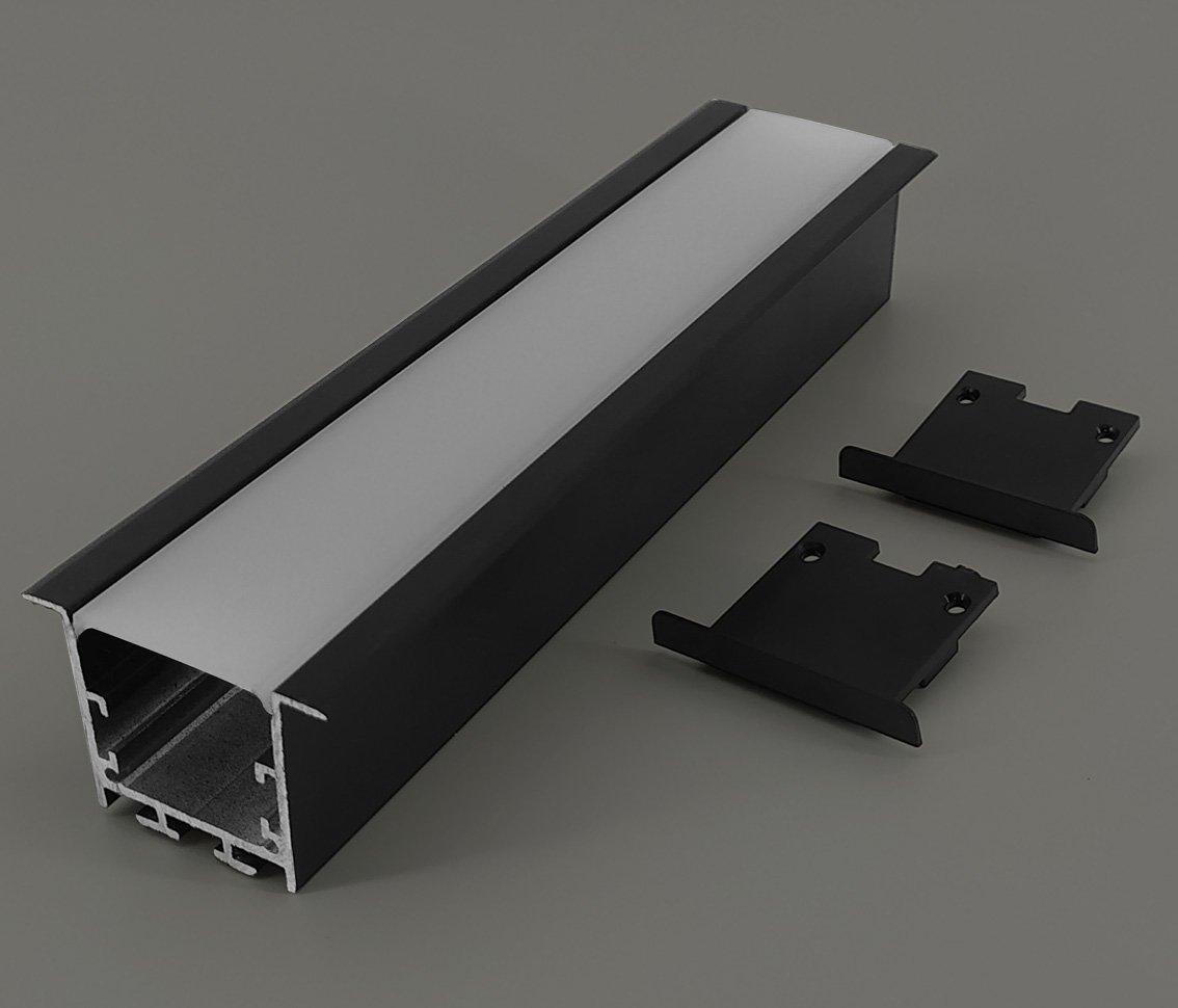 Perfil Embutir 50mm Para Fita LED - PRETO