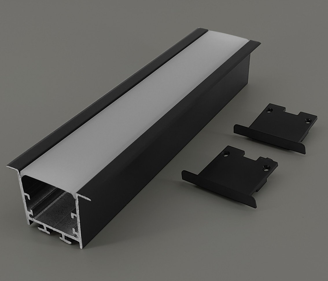 Perfil LED Embutir 36mm BLACK - 20w/40w por Metro - *Pronto para instalar