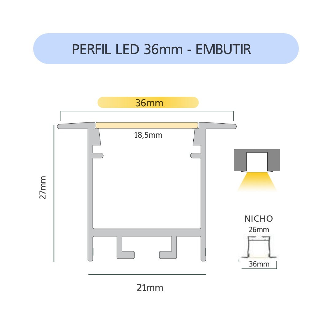 Perfil LED 36mm ALL BLACK Embutir - 40w por Metro - *Pronto para instalar