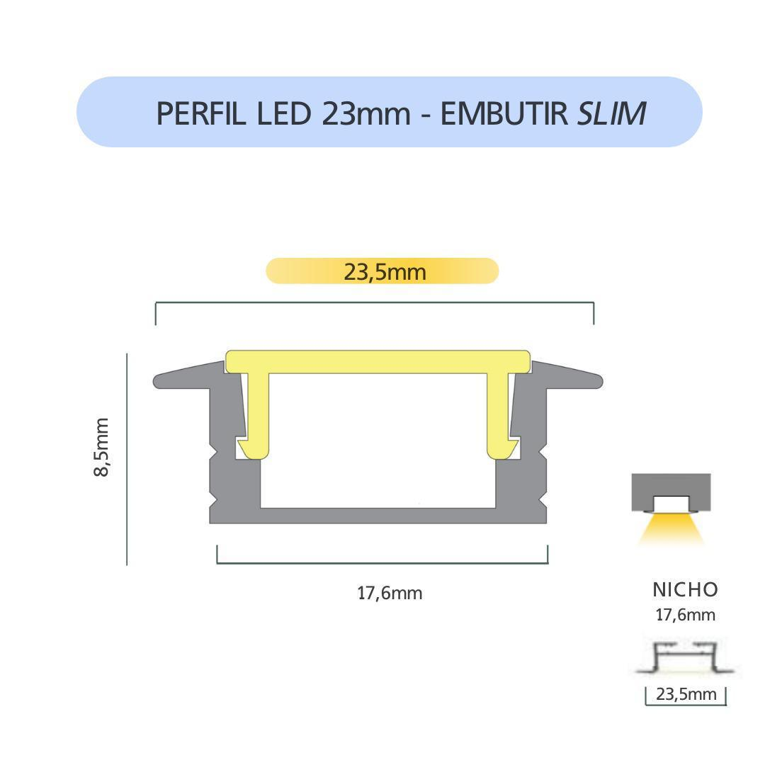 Perfil LED ULTRA SLIM Embutir 23,5mm - 20w por Metro - *Pronto para instalar