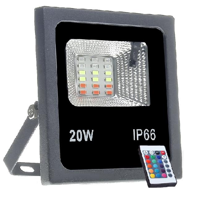Refletor LED RGB 20w  - C/ Controle Remoto