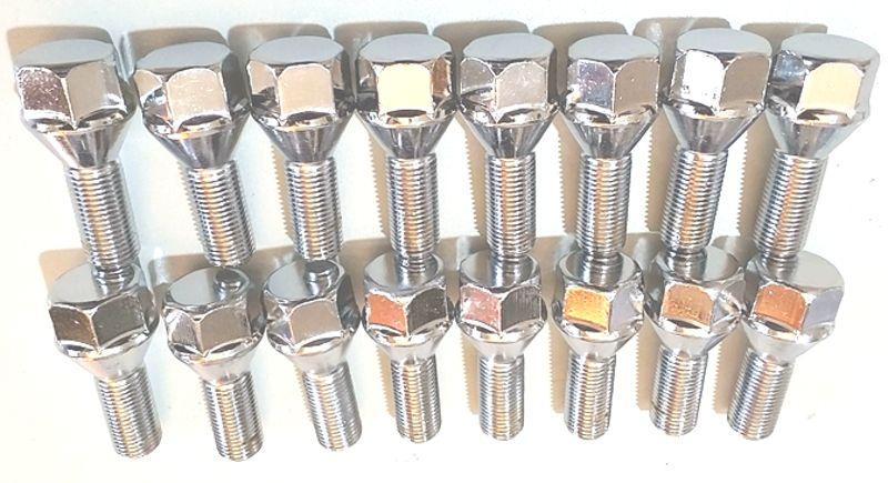 16 Parafusos de Roda M12 1,25 Linha Fiat  Peugeot em Aço Cromado