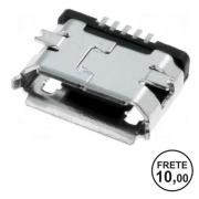 Dc Power Jack Conector Carga Micro Usb Tablet Celular V8 5 Terminais