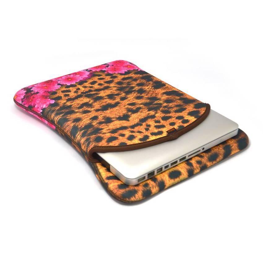 Capa Case Notebook 14 pol. Duplaface - Jaguar Floral em Neoprene