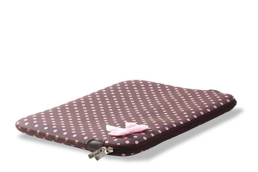 Capa Case para Notebook 15,6 pol. em Neoprene - Poá Rosa