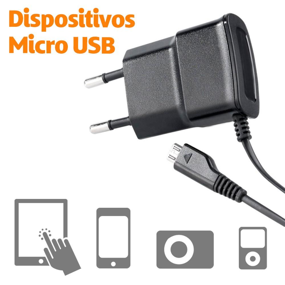 FONTE CARREGADOR RESIDENCIAL USB 2.1A - Cabo fixo MICRO USB