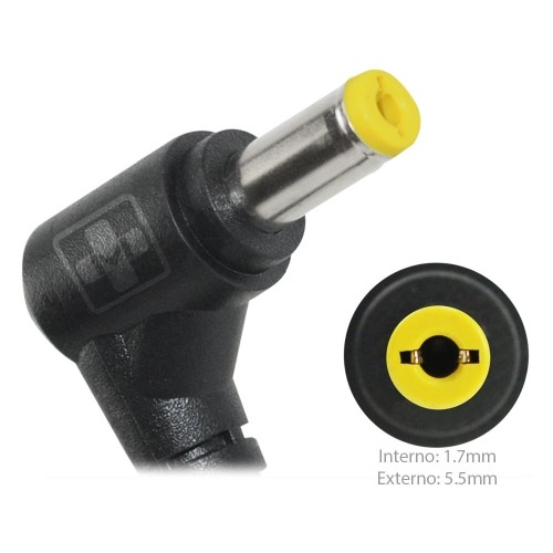 FONTE P/ NOTEBOOK ACER 19V 3.42A – Plug. 5.5×1.7mm