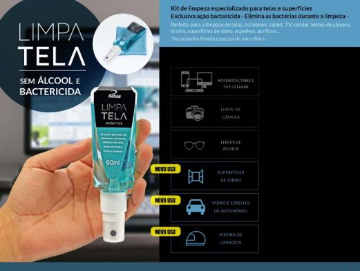 Limpa Telas e Lentes Antibactérias 60ml + Flanela Microfibra