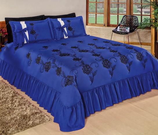Cobre Leito Casal King Bordado Kit Magnífico 05 Peças - Azul