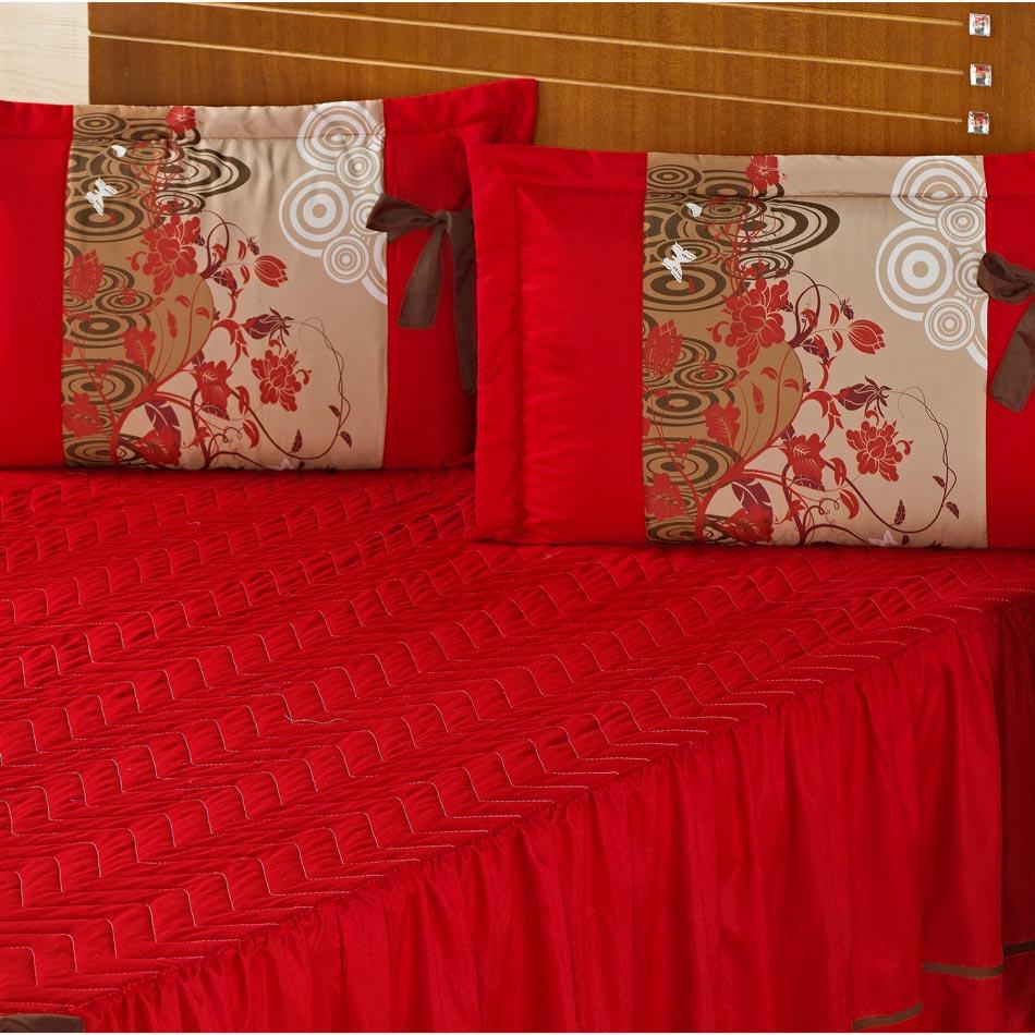 Colcha Casal Padrão Bruna 03  Peças Estampado com Babado- vermelho