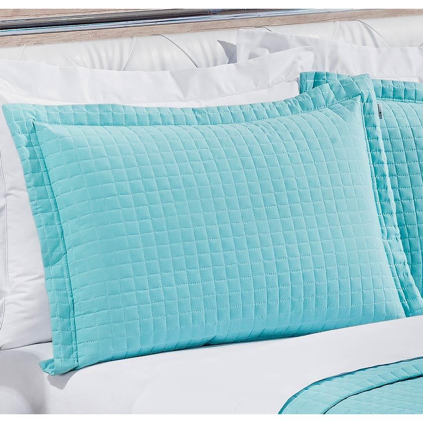 Cobre Leito Casal Queen Pratic 03 Peças Liso coleção 2107 -  100% Algodão 200 Fios - Azul Oceano