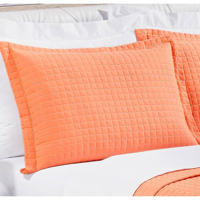 Cobre Leito Casal Queen Pratic 03 Peças Liso coleção 2107 -  100% Algodão 200 Fios - Cor Salmão Coral
