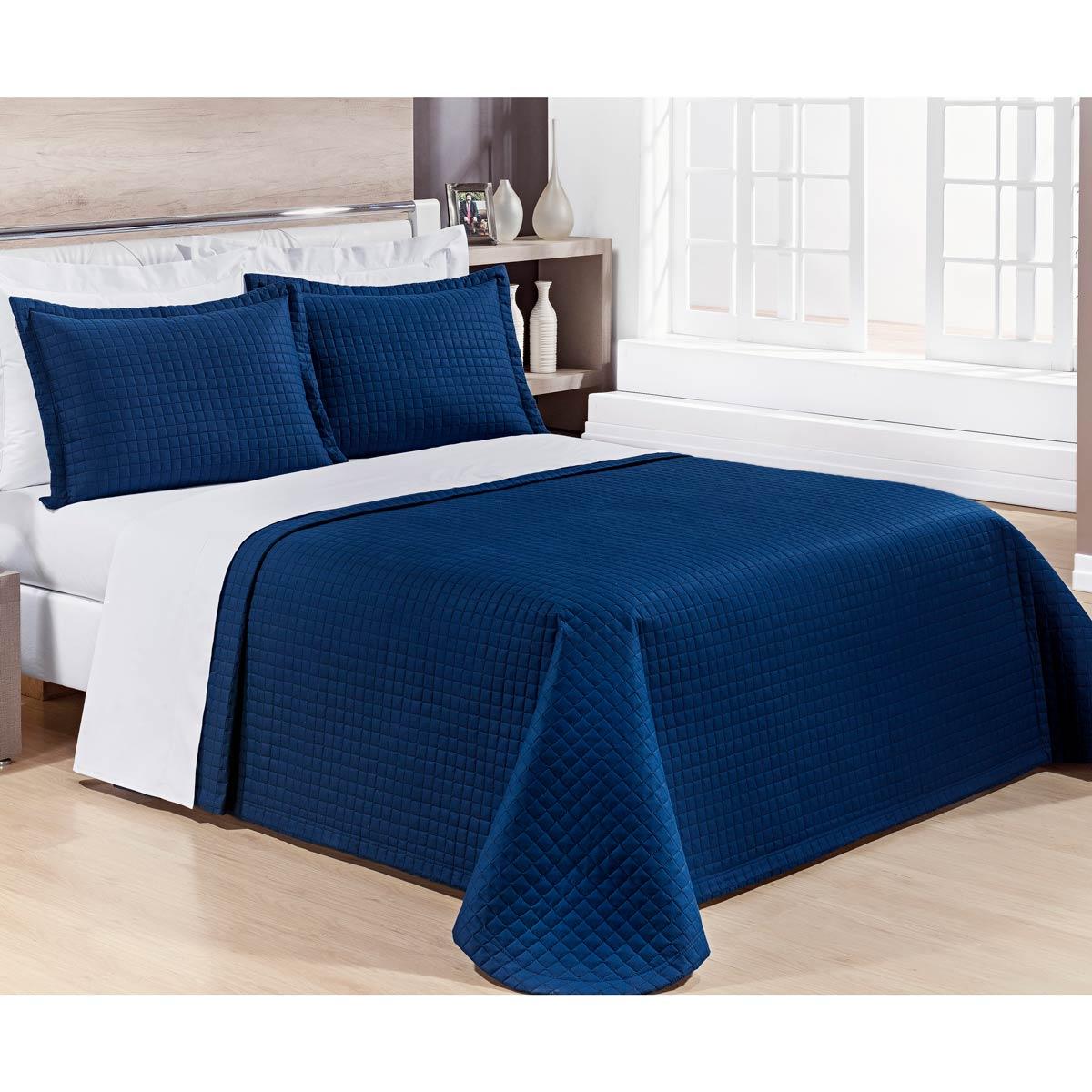 Cobre Leito Casal Queen Pratic 03 Peças Liso coleção 2107 -  100% Algodão 200 Fios - Cor Azul