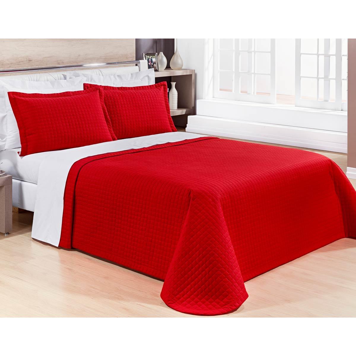 Cobre Leito Casal KING Pratic 03 Peças Liso coleção 2107 -  100% Algodão 200 Fios - Cor Vermelha