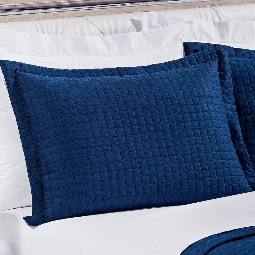 Cobre Leito Casal KING Pratic 03 Peças Liso coleção 2107 -  100% Algodão 200 Fios - Cor azul