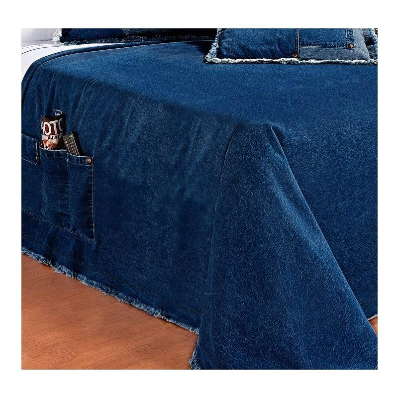 Cobre Leito Solteiro Street - Tecido Jeans 100% Algodão - Acompanha Almofada