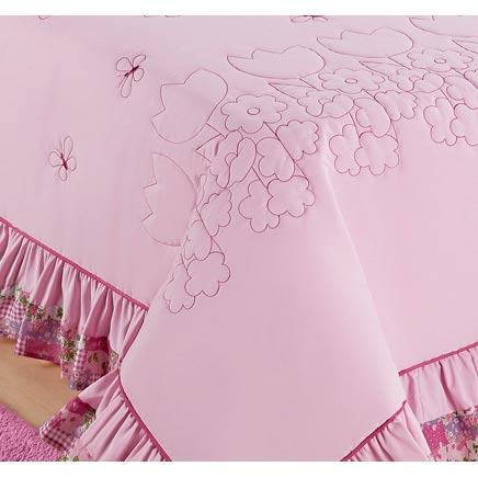 Colcha  Solteiro Kit  Jardine 3 Peças c/ 1 Borboleta - cor rosa