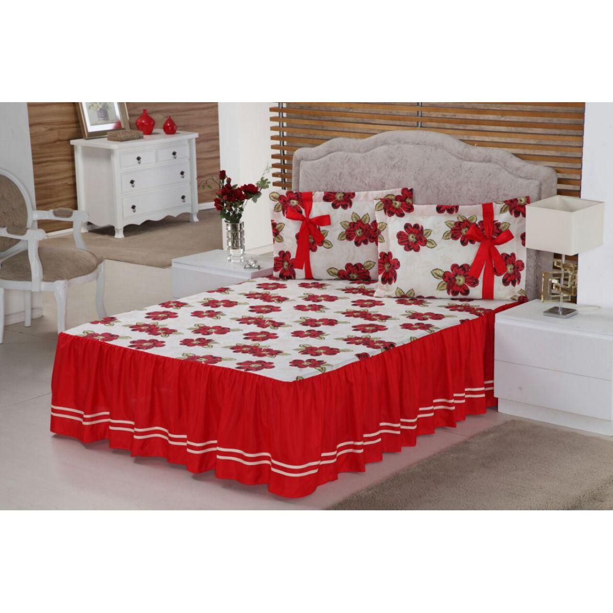 6724888876 Colcha casal Floral para Cama Padrão Normal 03 Peças Floral vermelho