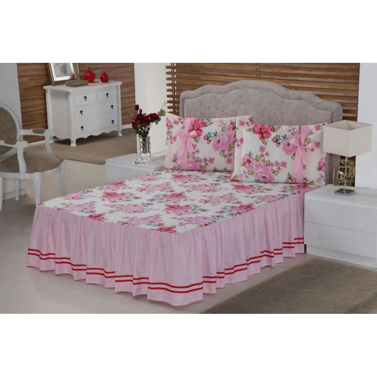 Colcha casal Floral para Cama Padrão Normal 03 Peças Floral Rosa