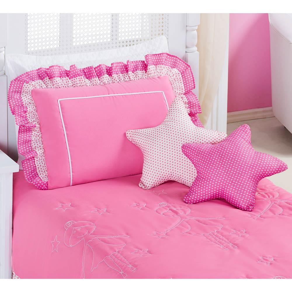 Colcha  Solteiro Bailarina Kit  4 Peças com 2 Estrelas - cor Rosa