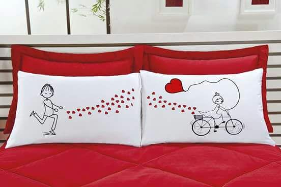Fronha Emoções LOVE - Kit com duas - Tecido Percal 150 fios 100% algodão - Bicicleta