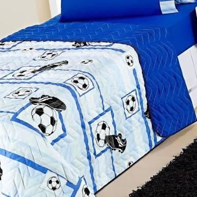 Cobre Leito Solteiro Kids Futebol Dupla Face 04 Peças com Lençol - Azul