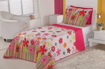 Cobre Leito Vivart Solteiro 2 Pecas Kit Garden - Rosa