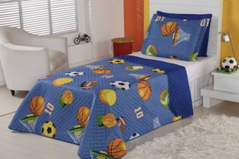 Cobre Leito Solteiro 2 Pecas Kit Futebol - Azul