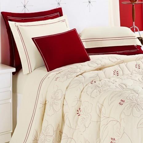 Cobre Leito Casal Queen Belle 05 Peças _ Percal 150/fios 100% Algodão  cor Vermelho/Palha