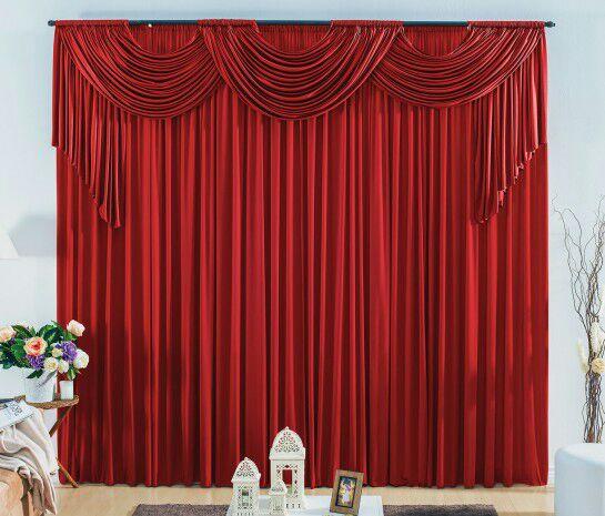 Cortina London 2,00 x 1,70m- Varão duplo- Vermelha