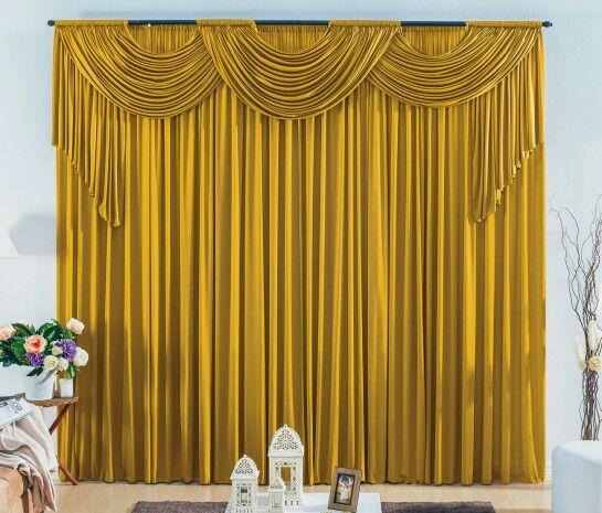 Cortina London 2,00 x 1,70m- Varão duplo- Dourado