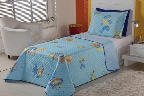 Cobre Leito Vivart Oceano Solteiro 02 Peças - Azul