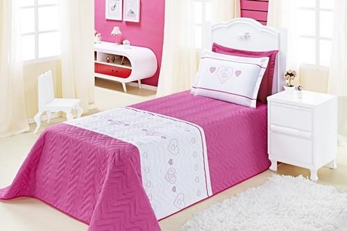 Cobre Leito Amor Solteiro 03 Peças - Rosa Pink