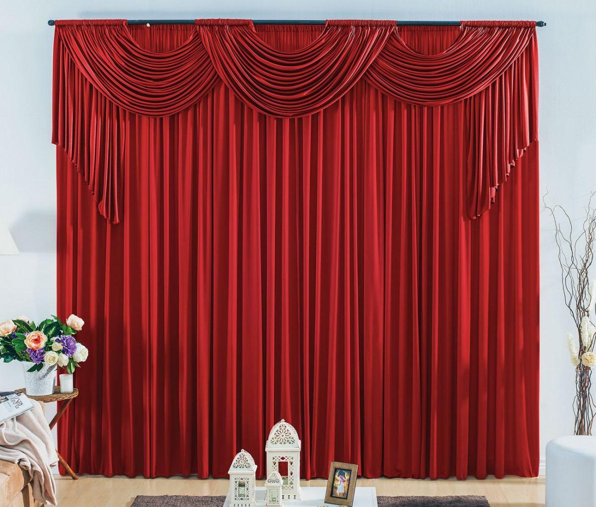 Cortina London 3,00 x 2,30 metros - Para varão duplo - cor vermelha