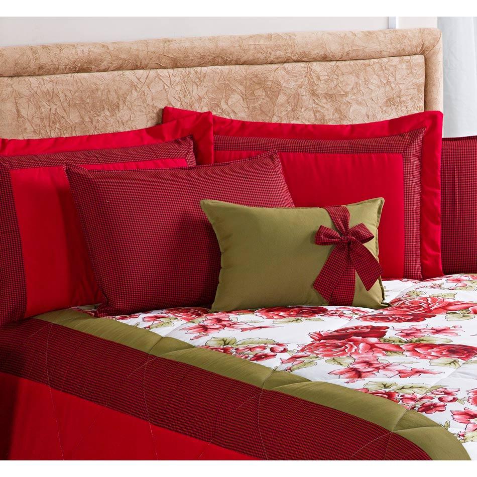 Cobre leito Casal Queen Savana 07 Peças Com Almofada e 4 Porta Travesseiros - Vermelho