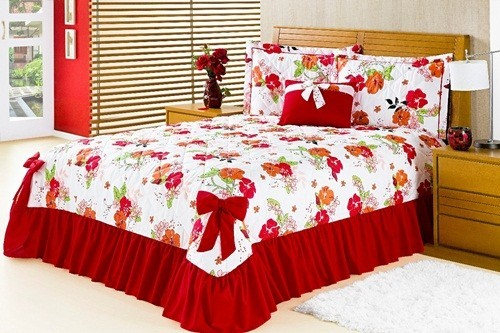 Colcha Casal Padrão Laila- 05 Peças- Rosa Floral