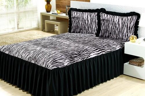 Colcha Casal Padrão Felina- 05 Peças-Zebra