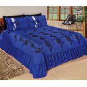 Cobre Leito Casal Padrão Bordado Kit Magnífico 05 Peças - Azul