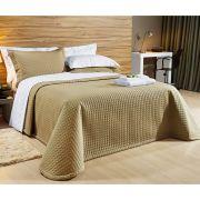 Cobre Leito Casal Queen Pratic 03 Peças Liso coleção 2107 -  100% Algodão 200 Fios - Cor Caqui